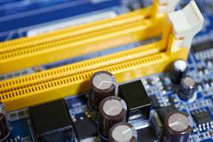 Fragment of motherboard. With slots for memory cards Stock Photography