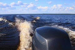 Fragment of a motor boat Stock Photos