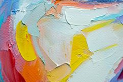 Fragment. Multicolored texture painting. Abstract art background. oil on canvas. Rough brushstrokes of paint. Closeup of a paintin. Colorful abstract painting stock photography