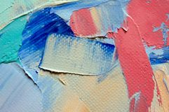 Fragment. Multicolored texture painting. Abstract art background. oil on canvas. Rough brushstrokes of paint. Closeup of a paintin. Colorful abstract painting royalty free stock photo