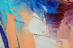 Fragment. Multicolored texture painting. Abstract art background. oil on canvas. Rough brushstrokes of paint. Closeup of a paintin. Colorful abstract painting royalty free stock images