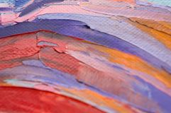 Fragment. Multicolored texture painting. Abstract art background. oil on canvas. Rough brushstrokes of paint. Closeup of a paintin. Colorful abstract painting stock image