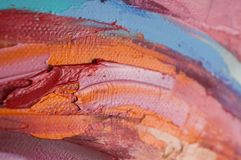 Fragment. Multicolored texture painting. Abstract art background. oil on canvas. Rough brushstrokes of paint. Closeup of a paintin. Colorful abstract painting stock photo