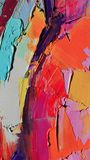 Fragment. Multicolored texture painting. Abstract art background. oil on canvas. Rough brushstrokes of paint. Closeup of a paintin. Colorful abstract painting stock illustration