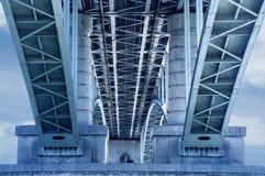 Fragment of the municipal communal bridge. stock image