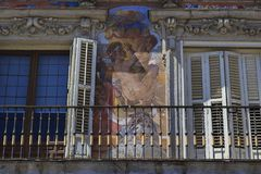 Fragment of the mural on Casa de la Panaderia, Madrid Royalty Free Stock Image
