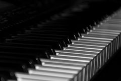 A fragment of a musical instrument - piano keys. Synthesizer royalty free stock photos