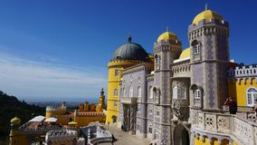 A fragment of The National Palace of Pena in the style of romanticism, Sintra, royalty free stock photo