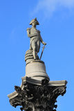 Fragment of Nelson's Column in Trafalgar Square in London Stock Images