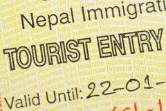 Fragment of the Nepal tourist entry visa. Royalty Free Stock Photo