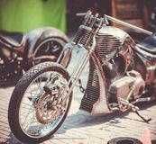 Fragment of a new motorcycle made in the workshop. Burap Biker Rally Pattaya stock photo