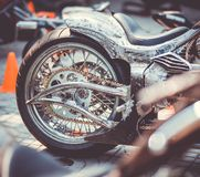 Fragment of a new motorcycle made in the workshop. Burap Biker Rally Pattaya stock photos