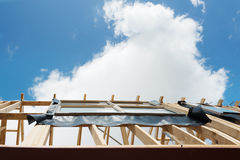 New home construction framing.          Fragment. Royalty Free Stock Images