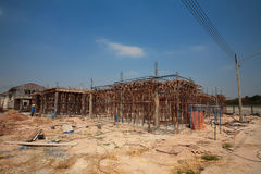 Fragment of new residential construction home framing Royalty Free Stock Images