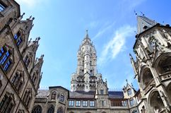 Fragment of New Town Hall of Munich, Germany stock photos