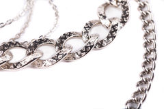 Fragment of nickel-plated chain. Royalty Free Stock Photos