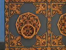 Fragment od door in St Michael`s Cathedral in Kiev, decorated golden carving. Stock Photography