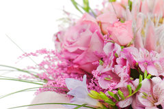 Fragment Of Colorful Bouquet Of Roses, Cloves And Orchids Royalty Free Stock Photo
