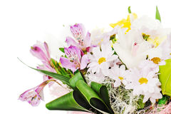Fragment Of Colorful Bouquet Of Roses, Lilies And Orchids Royalty Free Stock Photography