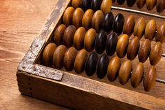 Fragment of old abacus. Close up Stock Images