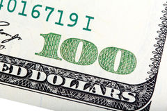Fragment of old American one hundred dollar banknote. High resolution photo Royalty Free Stock Photos