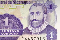 fragment old banknote of Nicaragua Stock Photography