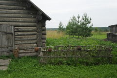 A fragment of an old barn. A fragment of an old wooden barn Stock Images