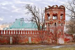 Fragment of old brick tower in early spring at Tsarskoye Selo.  Stock Photos