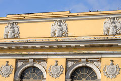 Fragment of an old building in the classical style in the center of St. Petersburg. Royalty Free Stock Photos