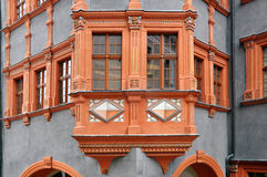 Fragment of an old building. Fragment of an old building, decorated with oriel. Goerlitz, Saxony, Germany Stock Photography