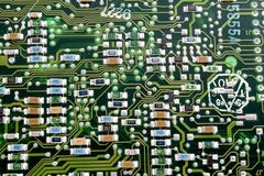 Fragment of an old computer board. Royalty Free Stock Images