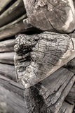 Fragment of the old cracked log wall. Fragment of the old log wall Royalty Free Stock Photography