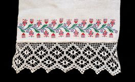 Fragment of the old embroidered towel Royalty Free Stock Photography