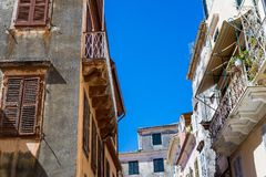 Fragment of the old european street or lane Royalty Free Stock Photography