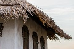 Fragment of old farm house in the north of Russia royalty free stock image