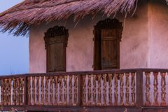 Fragment of old farm house in the north of Russia royalty free stock photos