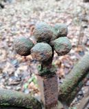 Fragment of the  fence in the form of balls royalty free stock photo