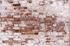 A fragment of an old flaked unrestored brick wall of an orthodoxal church in a small Russian town stock photography