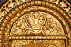 Fragment of old gilded frame Orthodox icon Royalty Free Stock Photos