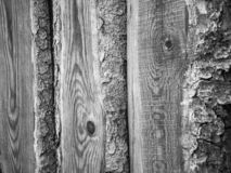 Fragment of an old grey rough-hewn fence. Wooden texture. Texture, background.Old unpainted wood surface. Wooden plank stock images