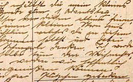 Fragment of an old handwritten letter Stock Images
