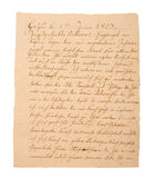 Fragment of an old handwritten letter. It was written in 1829 Stock Photos