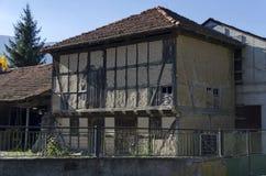 Fragment of old house at residential district of bulgarian village Govedartsi, Rila mountain. Bulgaria Royalty Free Stock Images