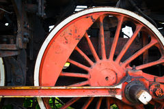 Fragment of old locomotive's wheel Stock Photos
