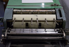 Fragment of the old machine in printing house Stock Photography