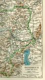 A fragment of an old map of Central Europe, Eastern Germany. Stock Photos