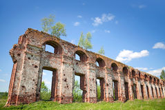 Fragment of old military quarters wall. Abandoned landmark: fragment of military quarters wall. Was built in 6 years from 1818. Architect - Vasily Petrovich Royalty Free Stock Image