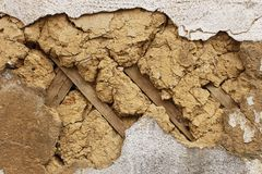 Fragment of an old mud walls Royalty Free Stock Photography