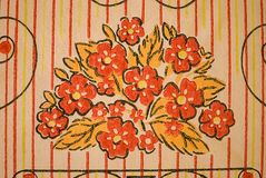 A fragment of old paper Wallpaper with a bouquet of flowers royalty free stock image
