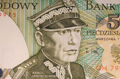 fragment of an old Polish banknote Royalty Free Stock Images